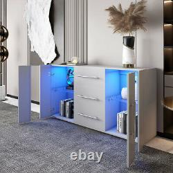 Large Sideboard Cabinet High Gloss Front Chest of 3 Drawer 2 Door Cupboard Grey