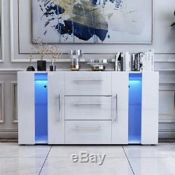 Large Sideboard Cabinet High Gloss Front Chest of 3 Drawer 2 Door Cupboard White