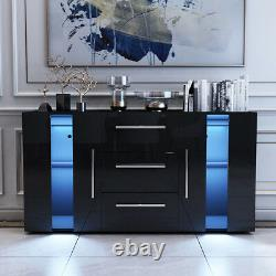 Large Sideboard Cabinet High Gloss Front Chest of 3 Drawers 2 Doors LED Black UK