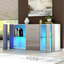 Large Sideboard Cupboards Storage Cabinet Stand 3 Drawers 2 Doors RGB LED Lights