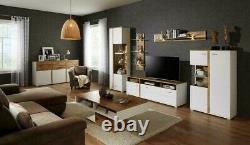 Large Sideboard Dresser Cabinet Oak Wotan & White Matt 3 Doors 3 Drawers Alamo
