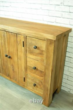 Large Sideboard Dresser Storage Unit Rustic Solid Wood 6 Drawer 2 Door