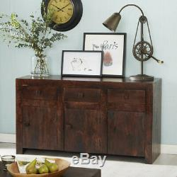 Large Sideboard with 3 Drawers and 3 Doors Ajak Mango Cube Collection MB05