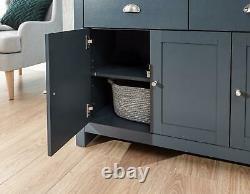 Large Slate Blue Sideboard Storage Unit 2 Drawers 3 Doors Metal Handles Oak Top