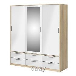 Large Sliding Doors Wardrobe 3 Doors 6 Drawers Oak White High Gloss 181x200x60cm