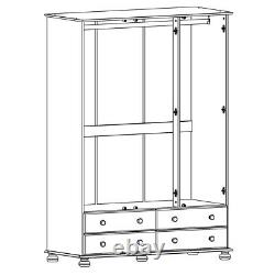 Large Solid 3 Door 4 Drawer Wardrobe in White Bedroom Furniture W130xH185xD56