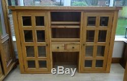Large Solid Oak Dresser Sideboard Top / Hutch, With Glazed Doors & Spice Drawers