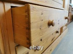 Large Solid Pine 4 Door Wardrobe, Drawers Full Hanging Sections FREE DELIVERY