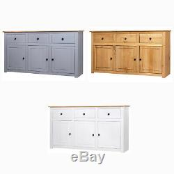 Large Solid Wood Sideboard Cabinet Storage Cupboard Furniture 3 Drawers Doors