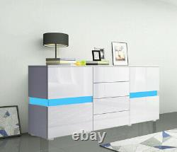 Large Storage Display Cabinet Unit Wooden Sideboard 2 Doors 4 Drawers LED Light