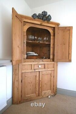 Large Stripped Pine Victorian Corner Cupboard Larder Farmhouse Antique Cabinet