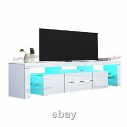 Large TV Unit Cabinet 200CM WIDTH with Doors & Drawers, High Gloss TV Stand LED