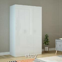 Large Triple Gloss 3 Door 3 Drawer Wardrobes Modern Furniture Bedroom Clothes UK