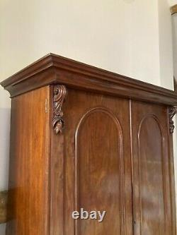 Large Victorian two-door wardrobe with internal hanging space, drawers & shelves