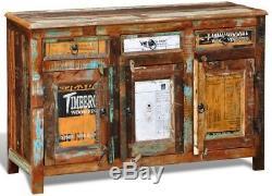 Large Vintage Cupboard Narrow Wooden Storage Sideboard Cabinet 3 Drawers 3 Doors