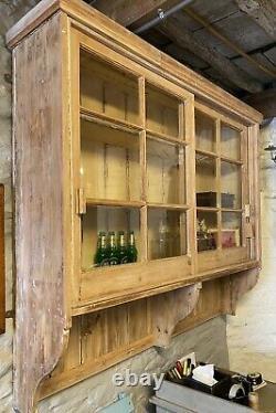 Large Vintage pine wooden dresser With Glass Display