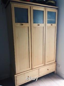 Large Wardrobe Drawers & Hanging Space 3 Door Triple Scandi Retro Design