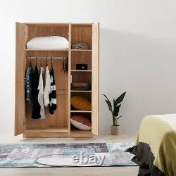 Large Wardrobe White/Black/Oak 3 Door 3 Drawer Wardrobe Bedroom Storage Unit UK