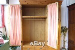 Large Wardrobe With Window Glazed Curtained Doors Drawers & Shelves