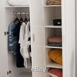 Large Wardrobes Triple 2/3 Doors 3 Drawers Unit Bedside WoodenHome Furniture Hot
