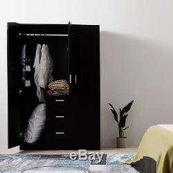 Large Wardrobes Triple 2/3 Doors 3 Drawers Wooden Bedroom Home Black/ White/ Oak