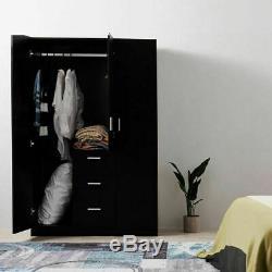 Large Wardrobes Triple 2/3 Doors 3 Drawers Wooden Bedroom in Black/ White/ Oak