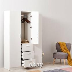 Large Wardrobes Triple 3 Doors 3 Drawers Wooden Home Bedroom Black/ White/ Oak