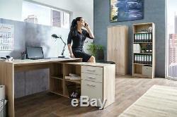 Large White Oak Corner Desk 2 Drawer 1 Door Home Office Storage Unit Cupboard