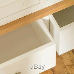 Large White Triple Wardrobe 3 Doors 2 Drawers Painted Solid Wood Bedroom Farrow
