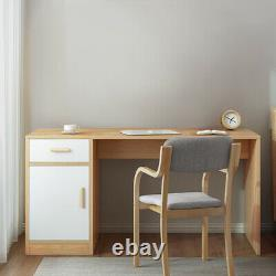 Large Wide Computer Desk WithDrawer Door Study PC Table Home Office Workstation UK