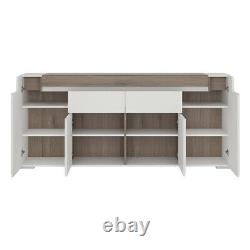 Large Wide Sideboard White High Gloss Storage Cabinet 4 Door 2 Drawer Cupboard