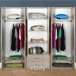 Light Oak Extra Large 6 Door 2 Drawer Combination Bedroom Wardrobe 7 Yr Warranty