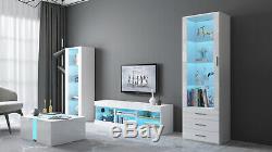 Living Room Set Matt Body & Gloss Doors TV Unit Display Cabinet Cupboard RGB LED