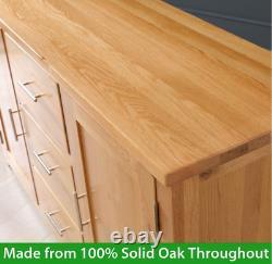 London Solid Oak Large Sideboard 3 Drawer 2 Door Wide Dining Storage UK19