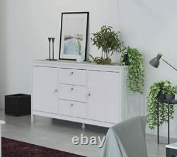 Madrid Shaker Style Large Wide Sideboard Buffet Unit 2 Doors 3 Drawers In White