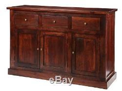 Maharani Dark Solid Wood 3 Drawers and 3 Doors Large Sideboard Cabinet