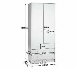 Malibu 2 Door 3 Drawer Free Standing Large Solid Storage Wardrobe 180cm Tall