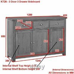 Manor Oak Large 3 Drawer 3 Door Sideboard- Living Room Furniture KT26