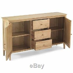 Meadow solid oak furniture large two door three drawer sideboard