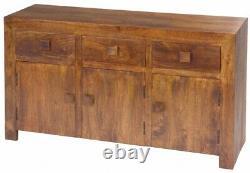 Medium Walnut Dakota Range Large Sideboard 3 Doors, 3 Drawers