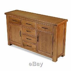 Melrose solid oak furniture extra large six drawer two door sideboard