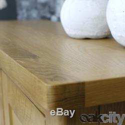 Milan Oak Sideboard Large 2 Door 3 Drawer Cabinet Rustic Medium Wood Tone