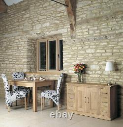 Mobel Solid Oak 2 Door 6 Drawer Large Sideboard Wide Wooden Storage Cabinet