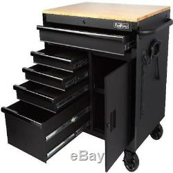 Mobile Tool Chest Workbench 5-Drawer 1-Door Cabinet Wooden Top Work Surface 36