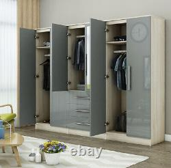 Modern 6 Door LARGE Fitment mirrored wardrobe in HIGH GLOSS GREY, 3 drawers