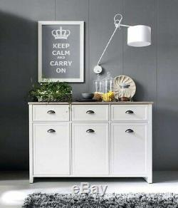 Modern Country Large Sideboard Unit Door Drawer Cabinet White Oak Finish Cannet