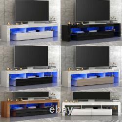 Modern Large 2 Drawers TV Unit Stand Cabinet High Gloss Door Matt Body LED light