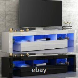Modern Large 200cm TV Unit Cabinet Stand High Gloss Door with 2 Drawers FREE LED