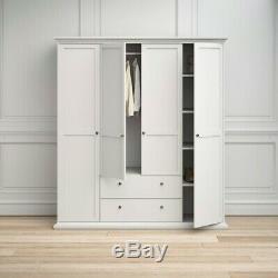 Modern Paris White 4 Door Large Wardrobe Easy Assemble 2 Drawer & Shelves