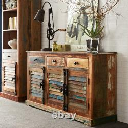 Modern Reclaimed Boat Wood 3 Doors & 3 Drawers Large Sideboard in Rustic Finish
